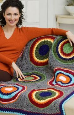 Circles in Squares Throw Free Crochet Pattern from Red Heart Yarns