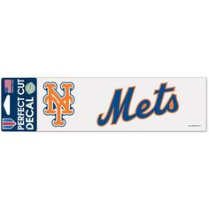 """New York Mets WinCraft 3"""" x 10"""" Logo & Name Perfect Cut Decal"""