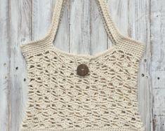 Crochet Bag Crochet Purse Crochet Beach Bag Retro Bag