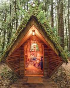 Describe this cabin in ONE word! The Pointy House is a tiny forest cabin nestled among trees and fauna in the Olympic National Park. Off Grid Tiny House, Tiny House Cabin, Tiny House Living, Tiny House Design, Cottage House, Tree House Homes, Off The Grid Homes, Forest Cabin, Forest House
