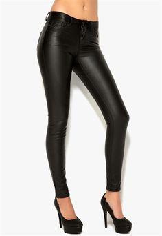 VILA+Cleavo+5P+PU+Pants+Black