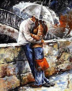 Kissing in the rain..