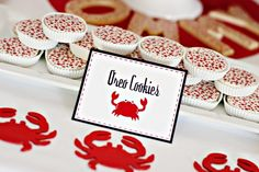 1 Dozen Red Scattered Polkadot Chocolate Covered Oreos -Crab Shack Birthday Party Favor Ladybug Christmas. $22.00, via Etsy.
