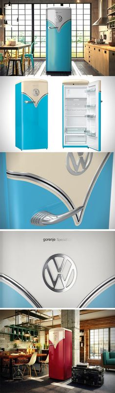 The VW Fridge (an actual fridge!) comes as a collaboration between European appliance giant Gorenje and none other than Volkswagen whom we know too well. Using the delicious color palette that VW relied on, the fridge comes even with the chrome trims, the unmistakable VW logo, and a silhouette that does a brilliant job of juxtaposing a winning aesthetic from automotive history onto a kitchen appliance.