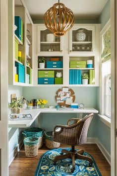 You don't need an entire room to create an efficient workspace at home. Check out 14 offices and craft rooms tucked into small spaces.