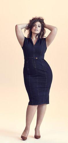 Das sind die Top-Fashion Trends 2018 - Dark Denim Dress worn by Plus Size Model Ashley Graham for Marina Rinaldi Big Girl Fashion, Curvy Fashion, Trendy Fashion, Plus Size Fashion, Fashion Models, Fashion Top, Cheap Fashion, Fashion Styles, Fall Fashion