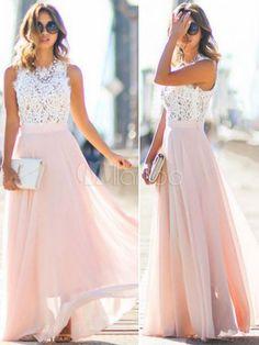 Schickes langes Kleid Rosa Rundkragen Kleid mit Spitze