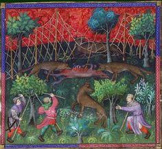 Le livre de chasse, folio 111 ci devise comment on peut prendre les loups à l'accroupie