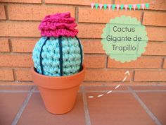 Cactus Gigante de Trapillo - Videotutorial en Español aquí: http://www.happyganchillo.es/2014/05/cactus-gigante-de-trapillo-videotutorial.html