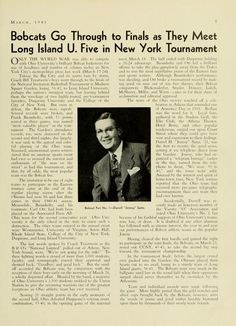 """The Ohio Alumnus, March 1941. """"Bobcats Go Through to Finals as They Meet Long Island U. Five in New York Tournament."""" """"Only the World War was able to compete with Ohio University's brilliant Bobcat basketeers for size of headlines and number of column inches in New York City's metropolitan press last week (March 17-24)."""" :: Ohio University Archives"""