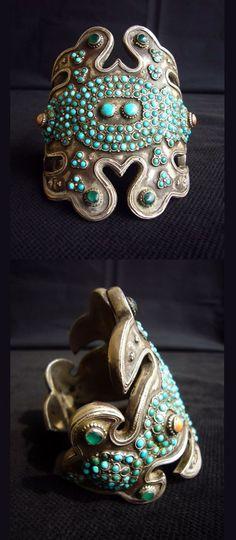 Uzbekistan | Old silver, coral and turquoise cuff bracelet, Bukhara | POR: