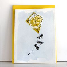 kite is another good idea for sewn card Fabric Cards, Paper Cards, Small Sewing Projects, Sewing Ideas, Sewing Cards, Homemade Christmas Cards, Craft Club, Free Machine Embroidery, Cool Cards