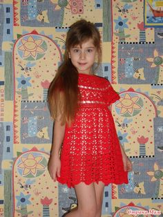 Red dress - all in openwork . (crochet) - Home Moms Crochet Home, Crochet For Kids, Crochet Baby Dress Pattern, Summer Dresses, Baby Dresses, Diy And Crafts, Kids Outfits, Mom, Children