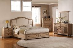 Sophia 4PC Queen Storage Bedroom Set $3,399.99 Sku:143049 The Light drift wood finish and shutter accents give the Sophia a serene, coastal feel. This collection also offers a lot of functionality, spacious storage drawers though out, are on full extension ball bearing drawer glides which allow the operator to open the drawer with ease, and always reach their personal belongings. Visit our website for benefits and warranty information.