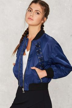 Nasty Gal Cassidy Bomber Jacket - Navy - Clothes | Bomber + Utility | Bombers | All
