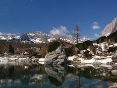 Double Lake in the valley of Seven Lakes in winter time - Triglav National Park, Slovenia