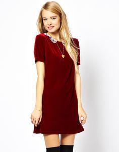 Best holiday dress ever!  ASOS Reclaimed Vintage '20s Velvet Mini Dress with Crochet Collar