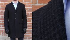 BR Charcoal Houndstooth Topcoat