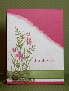 Lovely handmade thank you card in pinks and green.  Tear the edges of your papers to create  a deckled edge.  The flower stamp was lightly spritzed with water for a slight watercolor effect.