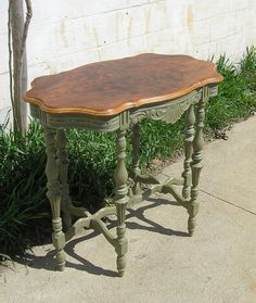 ~French Country Six Legged Occasional Table -Top was finished in its natural beauty~ Refurbished Furniture, Repurposed Furniture, Shabby Chic Furniture, Furniture Makeover, Vintage Furniture, Dresser Makeovers, Chalk Paint Furniture, Furniture Projects, Furniture Making