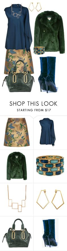 """""""Green, Gold and Blue"""" by glamourgrammy ❤ liked on Polyvore featuring River Island, By Malene Birger, MICHAEL Michael Kors, Dutch Basics and See by Chloé"""