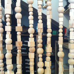 curtain made from wooden balls and blocks. No tutorial, but looks easy enough to duplicate.