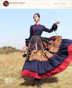 Shiping libre 2016 Femmes Vintage Coton Et Ligne Longue Maxi Ruches Manches Robes Printemps Et Automne Femmes Robes SL Imprimé dans de sur AliExpress.com | Alibaba Group