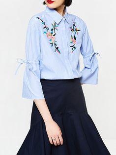 #AdoreWe #JustFashionNow Shirts & Blouses❤️Designer yinbo Blue Embroidered Stripes Bell Sleeve Shirt - AdoreWe.com