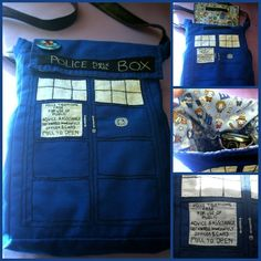 I love Doctor Who and I saw a Tardis bag online somewhere and wanted to make my own specifically to my own specifications. Doctor Who TARDIS Bag The Doctor, Doctor Who Tardis, Doctor Who Craft, Dr Who, Modelista, Geek Crafts, Diy Crafts, David Tennant, Geek Chic