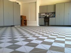 The Clean and Simple Garage Garage Floor Tiles, Tile Floor, Garage Gym, Tile Design, Flooring, Simple, Home Decor, Decoration Home, Room Decor