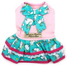 Vestido para Cachorro e Gato - Tecido Rosa e Azul Unicórnios com Lacinho -  Bonito Pra. Pet Elegante 834de76a597