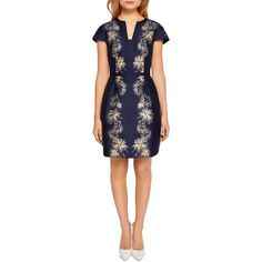 Ted Baker Tzalla Stardust Jacquard Dress ($395) ❤ liked on Polyvore featuring dresses, dark blue, wet look dress, ted baker dresses, dark blue party dress, blue party dress and wetlook dress