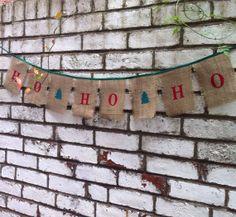 Christmas Ho Ho Ho banner in burlap and satin by BaloolahBunting, $30.00