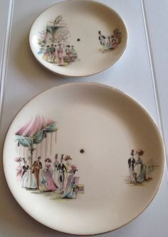 Alfred Meakin England My Fair Lady Cake Stand Plates Large Small