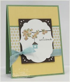 I really like how she used the Labels Framelit layered on the rectangle.  Stampin Up Card
