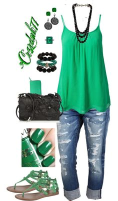 """Emerald and Black"" by crzrdnk77 on Polyvore"