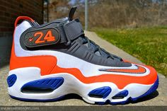 Nike Griffey Max 1 shown here sports a NY Mets-like color combination of white, total crimson, and hyper blue.