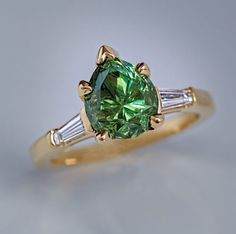 Rare 2.85 Ct Russian Demantoid Garnet Diamond Gold Ring - Antique Jewelry | Vintage Rings | Faberge Eggs