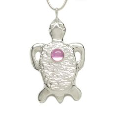 Michele Benjamin - Jewelry Design - Sterling Silver Pink Sapphire Tortoise Pendant Necklace 18 Inch