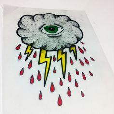 cloud with a eye and rain - new school tattoo sketch