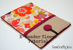 e-reader sleeve tutorial at SewCraftyJess