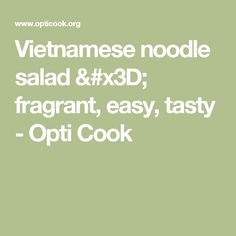 Vietnamese noodle salad = fragrant, easy, tasty - Opti Cook