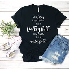 With Jesus in her heart & a volleyball in her hand she is unstoppable T-Shirt Cute Volleyball Shirts, Volleyball Shirt Designs, Sports Mom Shirts, Volleyball Memes, Volleyball Outfits, Volleyball Pictures, Volleyball Players, Volleyball Serve, Volleyball Jewelry
