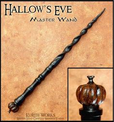 This Wand celebrates Halloween in a Collector's Edition One of a Kind Solid Ebony Wand. It measures 11 and has a Hand Carved Pumpkin Pommel, Lightly Painted with a Glossy Varnish. A truly unique Wand for a Special Owner. Wizard Staff, Wizard Wand, Wooden Wand, Witch Wand, Diy Wand, Harry Potter Wand, Crystal Magic, High Fantasy, Whittling