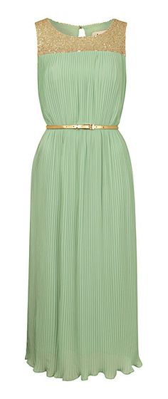 Mint glitter collar dress