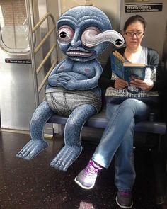 Забавные монстры из метро http://www.prohandmade.ru/other/zabavnye-monstry-iz-metro/  #монстрывметро #дорисуйфото #подземка #НьюЙорк #subwaydoodle