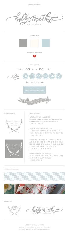 The Holly Mathis Interiors Brand Board with Brand Elements! Design Web, Blog Design, Editorial Design, Packaging Inspiration, Typography Design, Lettering, Identity Design, Brochure Design, Visual Identity