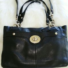 SALE Authentic Coach Black Leather Amazing Authentic Black Leather Coach Bag Great Condition only used a couple times. Perfect for that Special Someone or Treat yourself   *Fabric Lining *Outside Back Zip Pocket *Front Turn Lock Pocket *Inside Center Zip Compartment *Snap Closure *Inside Cell Phone & Multi Functional Pocket Coach Bags