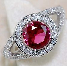 1CT Ruby & White Topaz 925 Solid Genuine Sterling Silver Ring Sz 8
