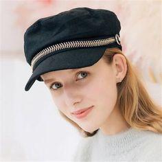 Chain black baker boy hat for women winter wool greek fisherman hat Baker Boy Hat Women, Baker Boy Cap, Fisherman's Hat, Beret, Greek Fisherman Hat, Caps For Women, Winter Wear, Black And Grey, Captain Hat